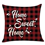 phjyjyeu Farmhouse Quote Home Sweet Home Black Red Checker Plaids Throw Pillow Cover, Housewarming Gift For Farmhouse Sofa Bed Room Decoration 18 X 18 Inch 16' X 16'(IN)