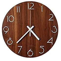 jomparis Rustic Country Tuscan Style Wooden Wall Clock Silent & Non-Ticking Battery Operated Small Decor Round Wall Clock (6 Inch)