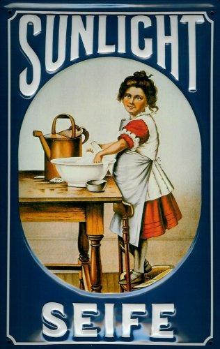 Buddel-Bini Versand Blechschild Nostalgieschild Sunlicht Seife blau Badezimmer Dekoration Schild