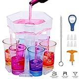 6 vasos de chupito y soporte, dispensador de vasos de chupito, para colgar gafas, dispensador de bebidas para cócteles, fiestas de bar, bebidas