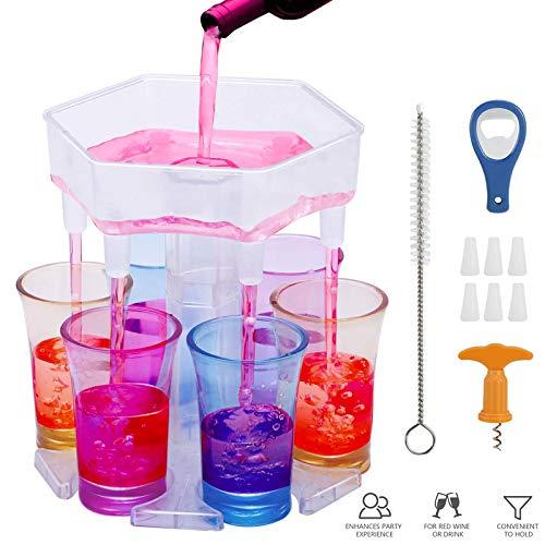 Dispensador de 6 Vasos de Chupito, vasos de chupito y soporte, para colgar gafas, dispensador de bebidas para cócteles, fiestas de bar, bebidas