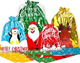 LOKIPA Christmas Drawstring Gift Bags, 30pcs Christmas Party Goody Gift Wrapping Bag for Xmas Present