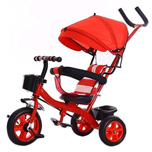 WENJIE Triciclos for niños al Aire Libre 1-6 años Niñas Niños 3 en 1 con empuñadura Triciclos Sombrilla for niños Triciclo Rojo