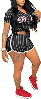 Women's 2 Piece Outfits – Letter Print Short Sleeve Tops + Shorts Set Tracksuit Jumpsuits Rompers