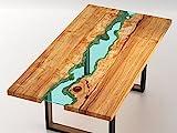 Mesa madera de diseño con ríos de cristal incrustados