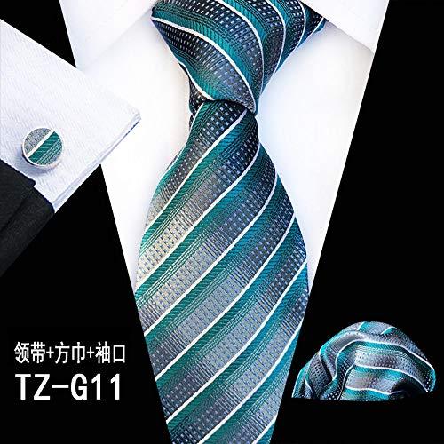 Juego de 3 gemelos para hombre, diseño de rayas biseladas, color verde, para boda, fiesta de negocios