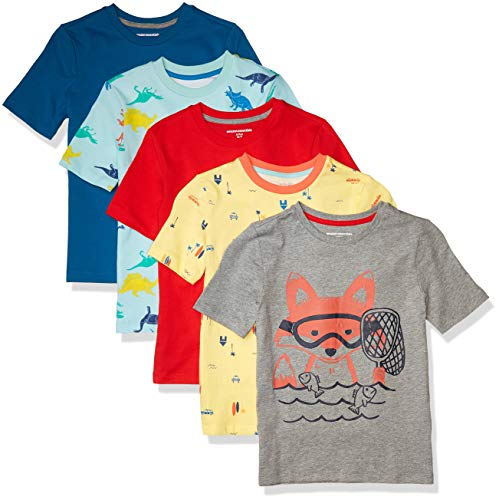 Amazon Essentials Short-Sleeve T-Shirts Camiseta, 5-Pack Fox, L, Pack de 5