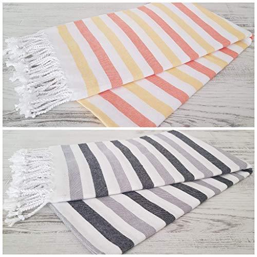 Belle Living Juego de 2 toallas de playa y piscina, tamaño grande, toalla de playa, toalla de secado rápido, 100 % algodón, borlas hechas a mano, 100 x 170 cm