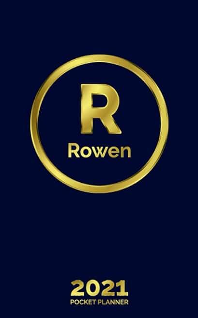 Rowen: 2021 Pocket Planner - Personalized Name Organizer - Initial Monogram Letter - Plan Days, Set Goals & Get Stuff Done - Gold Calendar & Schedule Agenda (5x8, 57 Pages)