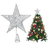 U&X - Puntale per Albero di Natale, in Metallo Glitterato, a Forma di Stella, per Decorazione Albero di Natale, 20,3 cm Argento.