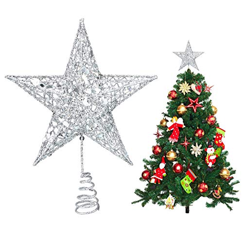 AUSDU Metal Glittered Christmas Tree Topper Sparkling Gold Shatter Resistant Plastic Wire Star Topper for Christmas Tree Decor (Silver)