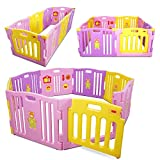 Kidzone Interactive Baby Playpen 8 Panel Safety Gate Children Play Center Home Child Activity Pen ASTM Certified (Pink- Purple- Yellow)