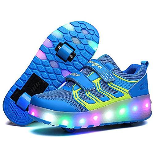 PSFYYY Doble rueda recargable para hombres y mujeres adultos patines de doble rueda LED luces coloridas (color: azul, tamaño: 31 cm)