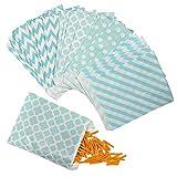 Wolintek 100 Stück Papiertüten Candy Bar / Candy Tüten / Geschenktüten / Süssigkeiten Beutel / Bonbon Taschen 4 Verschiedene Designs 18 x 13CM (A)