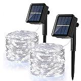 Guirnalda Luces Exterior Solar, BrizLabs 2 Pack 120 LED Cadena de Luces Solare Blanco Frío Impermeable 12M 8 Modos Alambre de Cobre Guirnaldas luminosas Decoración para Navida Jardín Patio Fiesta