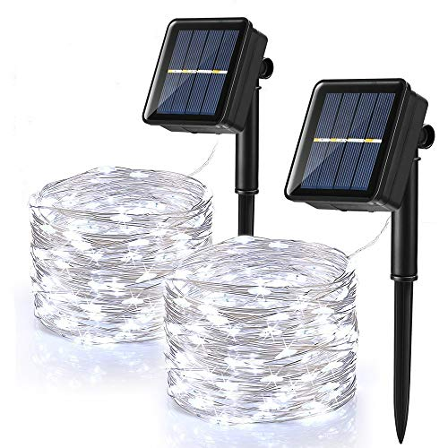 [2 Pack] Solar Fairy Lights Outdoor, BrizLabs 39.36ft 120 LED Copper Wire...