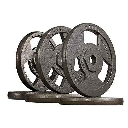 papababe 160LB Weight Plates 2-Inch Olympic Grip Plate Sets for Strength and Conditioning Workouts and Weightlifting (A Pair of 10 25 45LB Grip Plates)