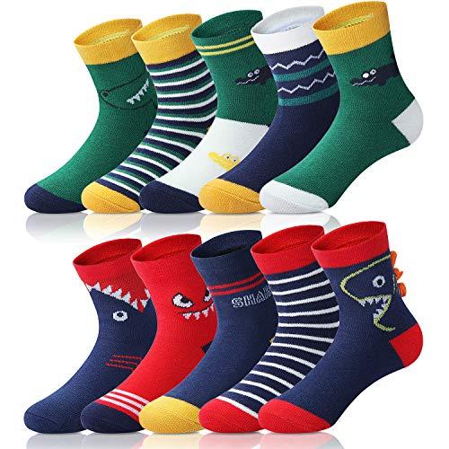 Adorel Jungen Socken Knöchelhoch Babysocken 10er-Pack Krokodil & Hai 4-6 Jahre (Herstellergr. L)