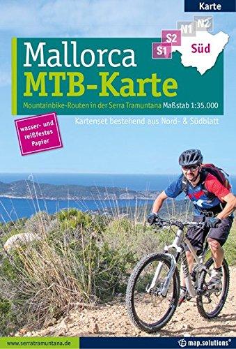 Mountainbikekarte Mallorca (Kartenset mit Nord + Süd-Blatt): Mountainbike-Routen in der Serra Tramuntana