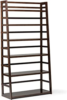 Simpli Home Acadian SOLID WOOD 72 inch x 36 inch Rustic Wide Ladder Shelf Bookcase, Bookshelf in Brunette Brown with 6 Shelves, for the Living Room, Study and Office