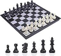 25/32 / 36cm(9.8 / 12.6 * 14.2 '')スクエアブラック/ホワイトチェスセットマグネットチェスの駒トラベルボードゲームギフト用折りたたみチェス盤