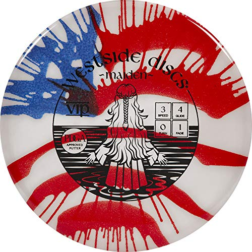 Westside Discs Hybrid Maiden MyDye American Flag Disc Golf Putter   Neutral Frisbee Golf Putter   173g Plus   Stamp Colors Will Vary