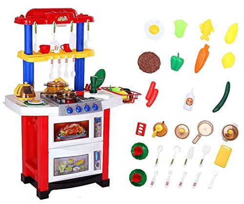 Shinehalo 33pcs Küche Spielzeug Rollenspiel Kochen Lebensmittel mit Echtem Wasser, Licht und Soundeffekt Elektronische Spielset Geschenke für Kinder - Rot