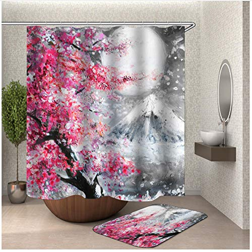Pfirsichblüte Duschvorhang, hochwertige, 100prozent Polyesterfaser, wasserdicht, Antischimmel-Effekt, einschlielich 12 Duschvorhangringe