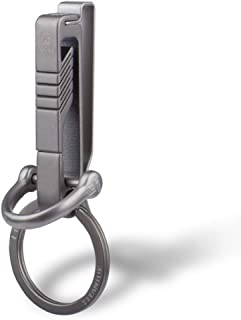 TISUR Belt Keychain Titanium Belt Loop Key Holder with Detachable Keyring for Men and Women