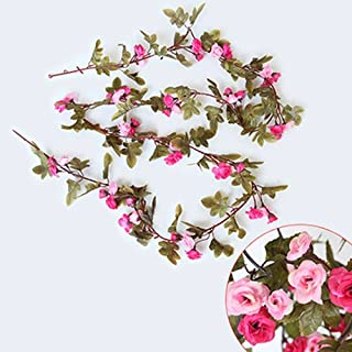 230Cm Roses Artificial Flowers With Green Leaves Hanging Garland Silk Flowers For Wedding Home Decoration Wholesale Dropshipping 1