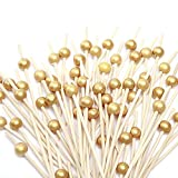 STRONG AND DURABLE: 100 Counts Wooden Cocktail Picks with gold pearl end. Length: 4.7inch. Cocktail stick can easily pierce food without shredding or splintering. GREAT DECOR FOR FOOD: Cocktail Picks are easy and attractive to decor and pierce throug...