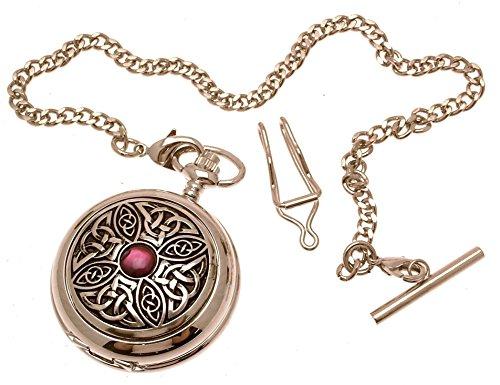 Grabado Incluido–sólido peltre Fronted cuarzo reloj de bolsillo–diseño de nudo Celta con...