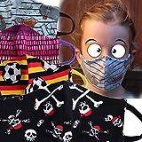 Wende-Mund-Nase-Bedeckung, Behelfsmaske, Gesichtsmaske Kinder, handmade, Baumwoll-Jersey, 2-lagig, waschbar, verschiedene Designs