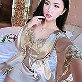 Eroticddmm Albornoces para Mujer Nightgown Silk Nightdress Female Kimono Nightgown One Piece Bathrobe Ice Silk Sexy Plus Size Bridal Gown 160 (M) Champagne Two Piece Set