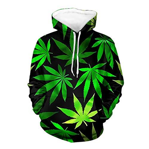 SEANATIVE Herren Hoodies 3D Tropical Palm Leave Unisex Bedruckter Pullover mit großen Taschen Grün XL