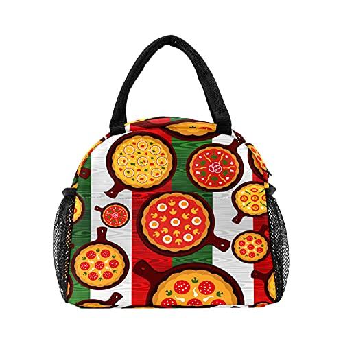 Deliciosa pizza con bandera de Italia Bolsa de almuerzo para mujer con aislamiento personalizado reutilizable caja de almuerzo térmica enfriador bolsa para el trabajo picnic