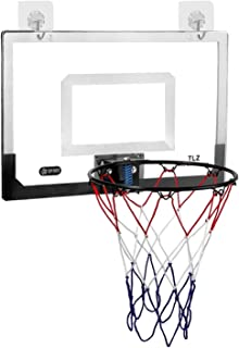 Door Mounted Large Basketball Backboard, Free Standing Kids/Adults Games Hoop Net Rim for Basketball 1-7, 32cm Hoop Dia, E...