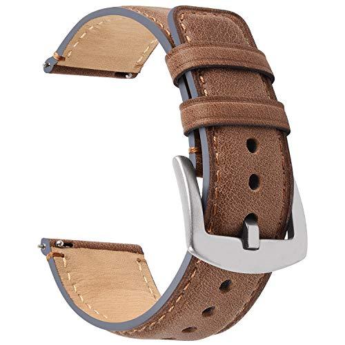 Fullmosa Correa de piel de 20 mm para Samsung Galaxy Watch 46 mm/Gear S3 Frontier/Classic/Huawei Watch GT/Moto 360 2, YOLA con hebilla en forma de D, color marrón oscuro + hardware plateado