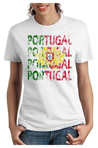 OM3® - Portugal - Damen T-Shirt - Lisboa Fussball World Cup Soccer Fanshirt Sport Trikot, M, Weiß