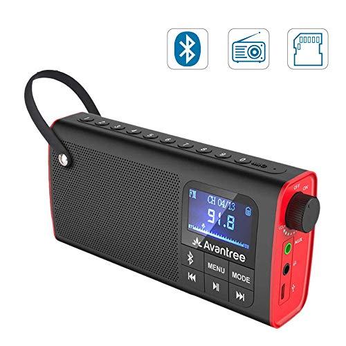 HM2 3-in-1 tragbares FM-Radio mit Bluetooth-Lautsprechern und SD-Card-Player, Auto-Scan-Speichern, LED-Anzeige, Wireless-Lautsprecher,Rot