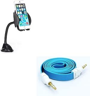車載ダッシュフロントガラスクレードルホルダー ブルーAuxケーブルステレオワイヤアダプタY1O付き Motorola Moto E4 Plus G6 Play G4 Play E5 Play、Droid Maxx 2 - Nokia 8、3.1 Plus - OnePlus 5に対応