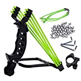 NOBONDO Strong Folding Slingshot - Powerful Adjustable Sling Shot Rocket with Wrist Brace Hunting Survival Catapult with 2 Rubber Bands and 100 Ammo Balls