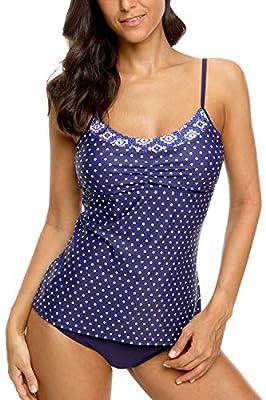 CharmLeaks Women's Blouson Tankini Swimsuit Double Up Tummy Control Swimwear Set