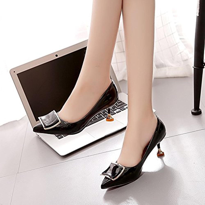 HRCxue High Heels light-painted Leder WILD Cat-Schuhe, für Schuhe, Damen, für den Innenbereich