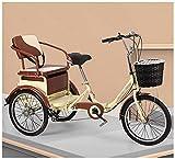 ZHMIAO Triciclo de 6 velocidades para adultos, bicicleta de 20 o 3 ruedas, cesta de la compra, trike, pedal, bicicleta para adultos, ciclismo, para ir de compras, al aire libre, picnic, deporte