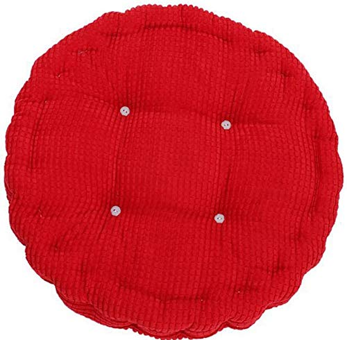 Y DWAYNE Indoor Outdoor Thicken Round Seat Cushion,Corduroy Quilted Chair Cushion,Floor Cushion Swing Dining Office Garden Chair Pad Red Diameter 43cm