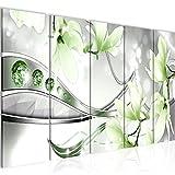 Bilder Blumen Magnolien Wandbild 150 x 60 cm Vlies - Leinwand Bild XXL Format Wandbilder Wohnzimmer Wohnung Deko Kunstdrucke Grün 5 Teilig - MADE IN GERMANY - Fertig zum Aufhängen 207256b
