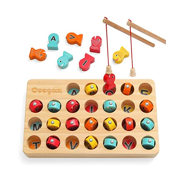 Coogam-Wooden-Magnetic-Fishing-Game-Fine-Motor-Skill-Toy-ABC-Alphabet-Color-Sorting-Puzzle-Montessori-Letters-Cognition-Preschool-Gift-for-Years-Old-Kid-Early-Learning-with-2-Pole