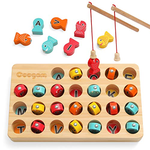 Coogam Wooden Magnetic Fishing Game, Fine Motor Skill Toy ABC Alphabet Color Sorting Puzzle, Montessori Letters Cognition Preschool Gift for Years Old Kid Early Learning with 2 Pole