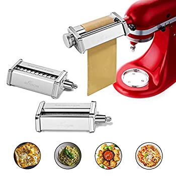 Pasta Attachment for KitchenAid Stand Mixer Included Pasta Sheet Roller Spaghetti Cutter and Fettuccine Cutter Pasta Maker Stainless Steel Accessories 3Pcs by Gvode